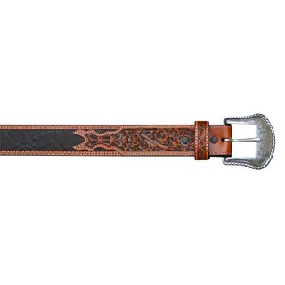 belt with leather application