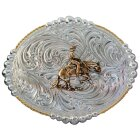 Buckle Reining Horse Silber oval
