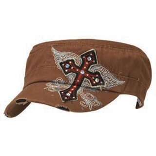 Cap All Cross embroidered brown