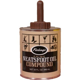Leder Öl Fiebings Neatsfoot Oil Compound mit Pinsel 946 ml