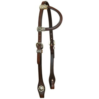 One Ear Headstall with black silver conchas